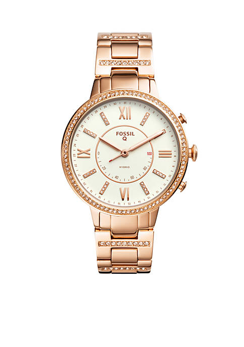 Fossil Q Womens Rose-Tone Stainless Steel Q Virginia