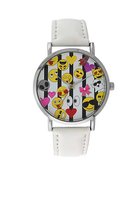 A Classic Time Watch Co. Womens White Emoji