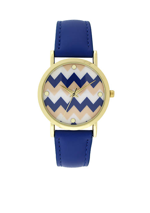 A Classic Time Watch Co. Womens Blue Chevron