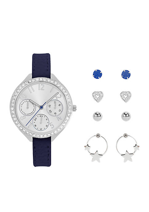 Jessica Carlyle Womens Silver-Tone Watch and Earring Set