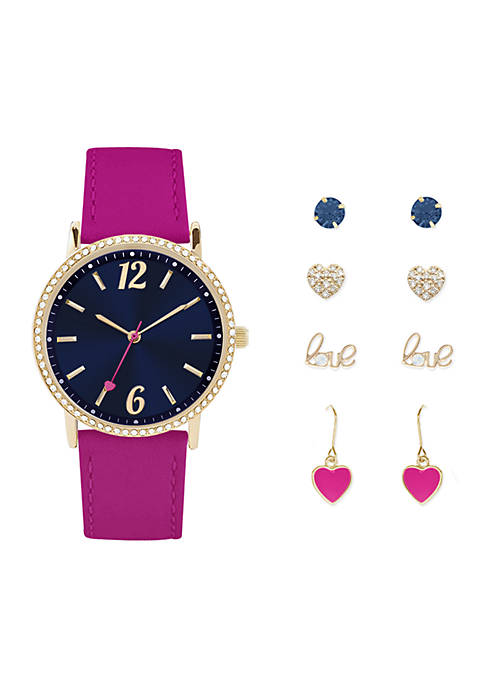 Jessica Carlyle Womens Pink and Navy Watch and
