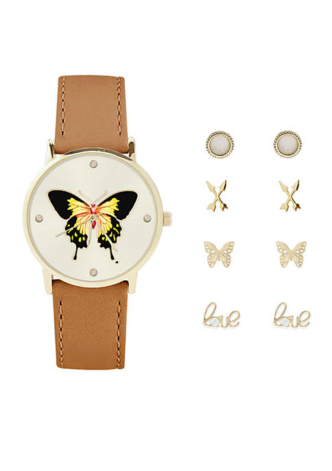 Jessica Carlyle Womens Butterfly Watch and Earrings Set