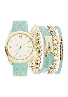 American Exchange Women's Gold-Tone Studded Strap Bracelet and Watch Set