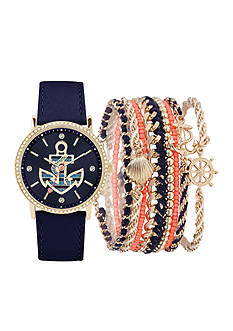 American Exchange Women's Navy Anchor Watch and Bracelet Set
