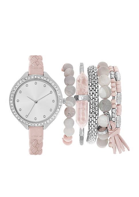 Womens Braided Strap Watch and Bracelet Set