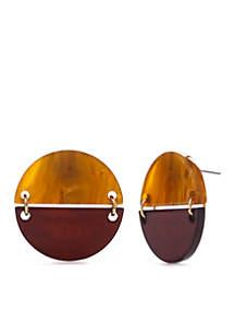 Faux Tortoise Button Statement Earrings