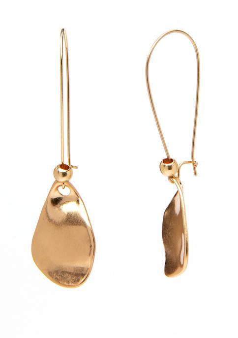 Gold Teardrop Pendant on Shepherd Hook Earrings