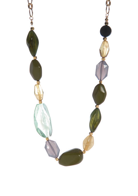 Green Stone Collar Necklace