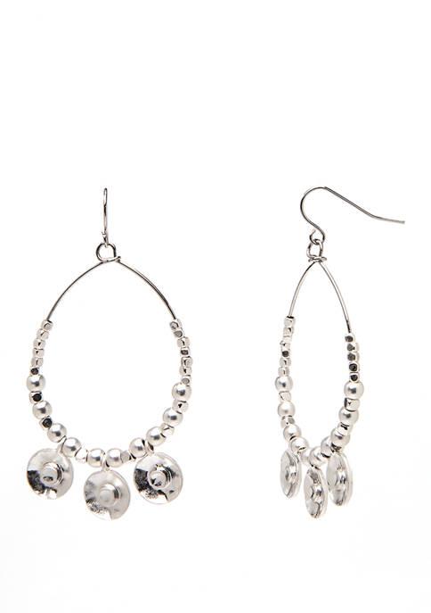 Silver Beaded Hoop Drop Earrings