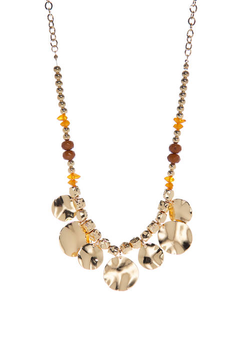 Gold Hammered Disc Necklace