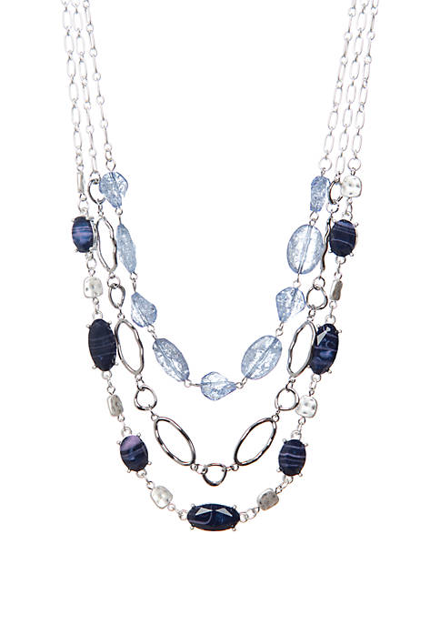 New Directions® Silver Tone Multi Row Bead Necklace