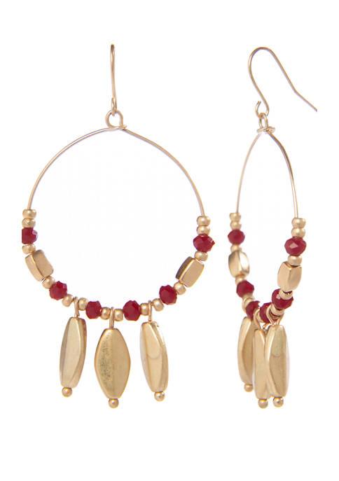 Beaded Stone Hoop Earrings