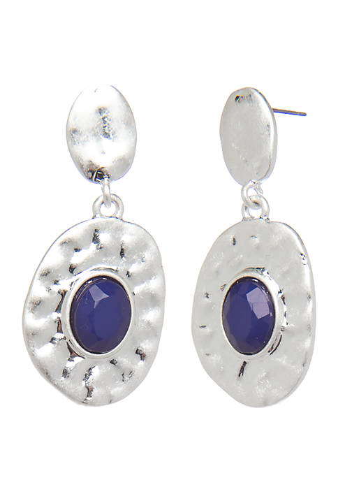 New Directions® Silver Tone Drop Earrings with Center