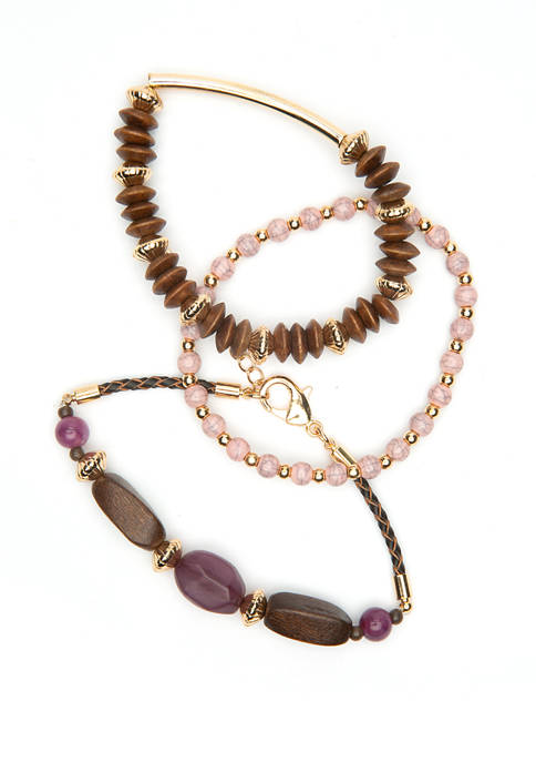 Wood, Gold, and Purple/Pink Tone Beaded Wrap Bracelet