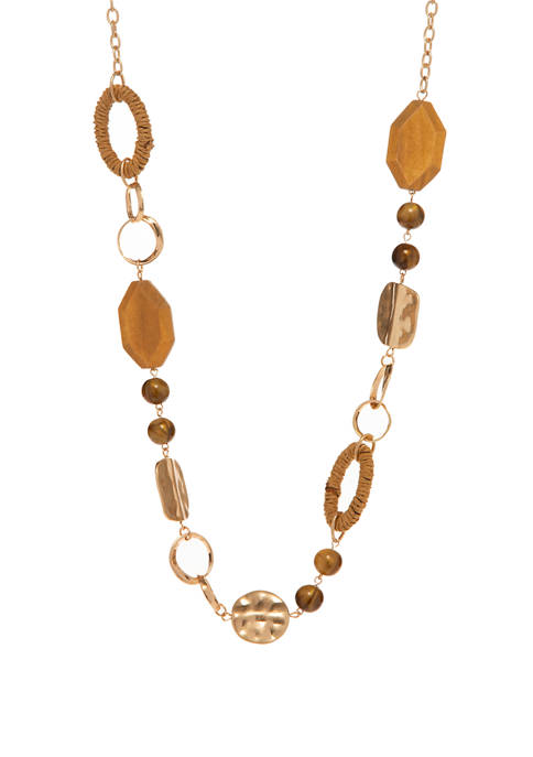 Gold Tone Long Bead Necklace