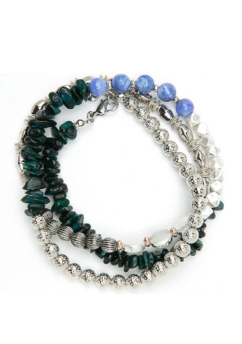 Green Purple And Silver Beads Wrap Bracelet