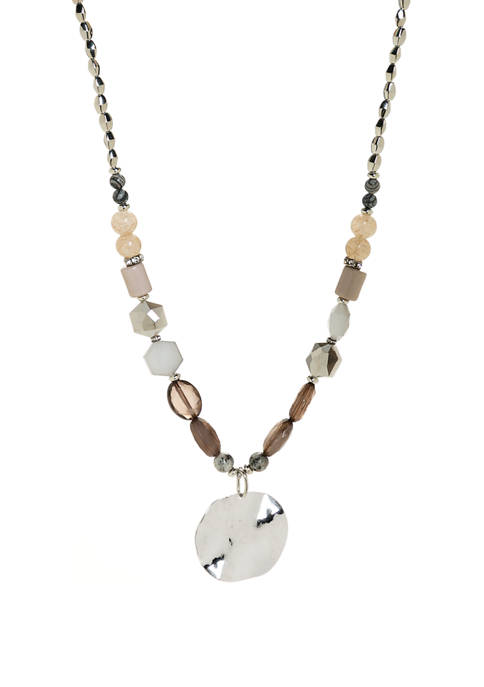 Silver Toned Beaded Circle Pendant Statement Necklace