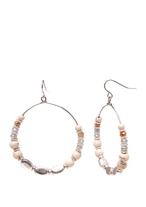 Silver and Natural Toned Beaded Hoop Earrings