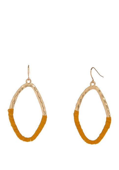 Gold Tone Half Wrapped Drop Earrings