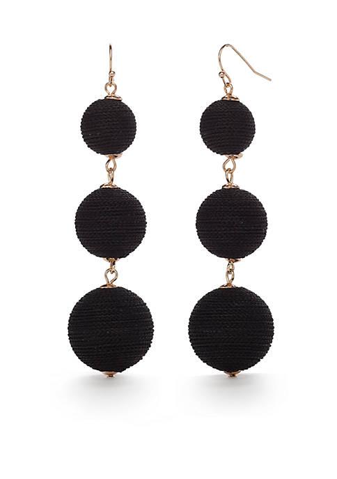 Gold-Tone Black Large Triple Drop Earrings