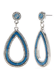 Silver-Tone Open Teardrop Earrings