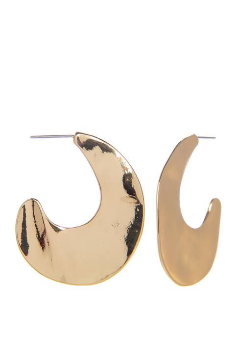 Metal Curved Drop Earrings