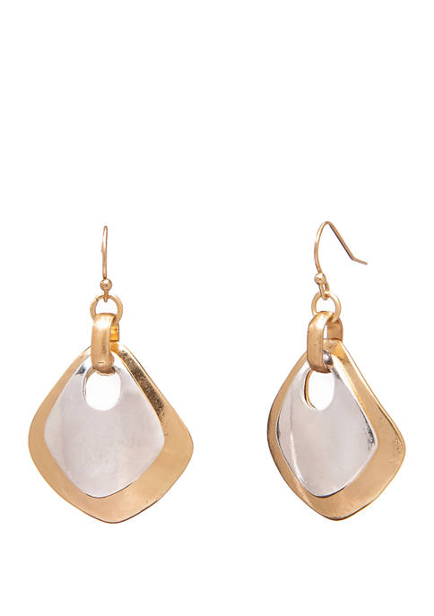 Two Tone Metal Drop Earrings