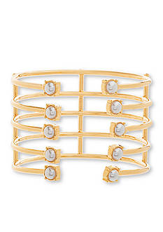 Steve Madden Gold-Tone Stainless Steel Cuff Bangle