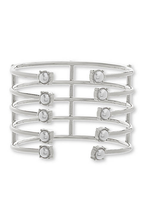 Silver-Tone Stainless Steel Cuff Bangle