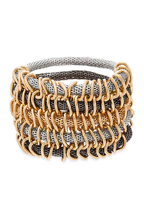 REMOVED BRAND NAMETri Tone Multi Row Mesh Stretch Bracelet