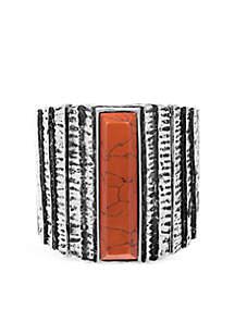 Wide Rectangular Stone Metal Stretch Bracelet