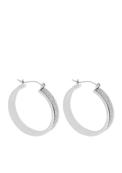 Silver-Tone Glitter Hoop Earring