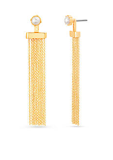 Steve Madden Gold-Tone Stainless Steel Front to Back Earring