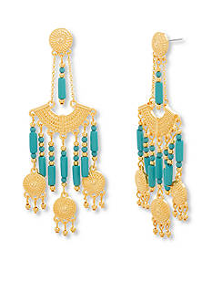 Steve Madden Gold-Tone Stainless Steel Beaded Chandelier Earrings
