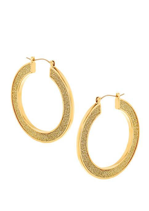 Gold-Tone Glitter Hoop Earrings