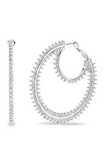 Beaded Texture Double Circle Hoop Earrings
