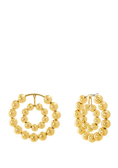 Gold-Tone Multi Beaded Double Hoop Earrings