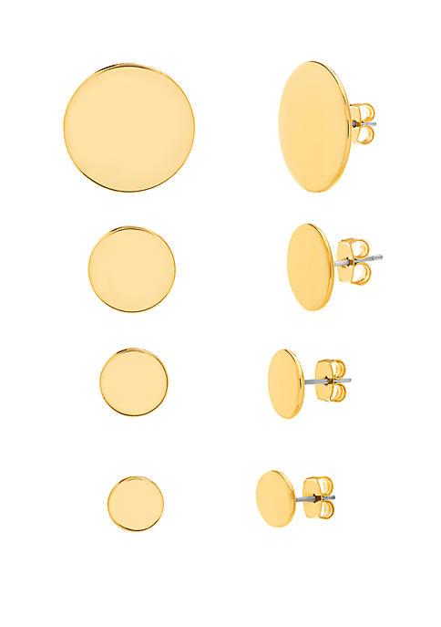 4 Pair Circle Post Earrings