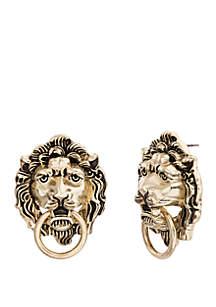 Lion Face Post Earrings