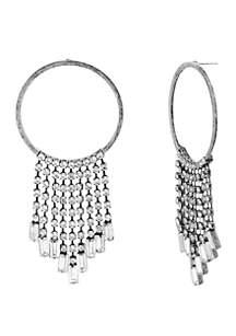 Casted Stone Chain Fringe Ring Earrings