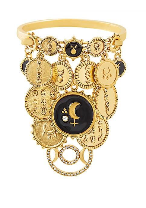 Casted Circle Moon Cross Tassel Bangle