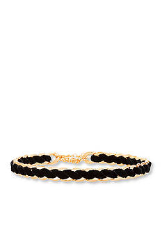 Steve Madden Gold-Tone Stainless Steel Laced Curb Choker