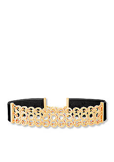 Steve Madden Gold-Tone Stainless Steel Triple Strand Interlocking Link Choker