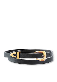 Steve Madden Gold-Tone Stainless Steel Black Leather Belt Choker Necklace