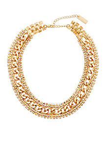 Steve Madden Rhinestone Edge Chain-Link Necklace