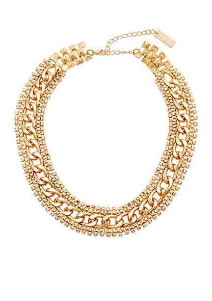 Steve Madden Rhinestone Edge Chain Link Necklace