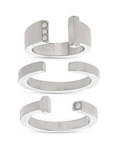 Steve Madden Silver-Tone Stainless Steel 3-Piece Freshwater Pearl Ring Set