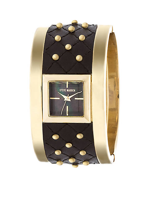 Steve Madden Womens Gold-Tone Studded Quilted Leather Bangle