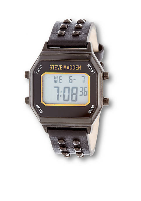 Steve Madden Womens Studded Leather Digital Watch