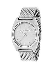 Steve Madden Women's Silver-Tone Tribal Dial Mesh Chain Watch